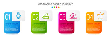 Set line Smartwatch, Swiss army knife, Tourist tent and Road traffic signpost. Business infographic template. Vector Vettoriali