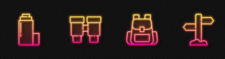 Set line Hiking backpack, Thermo container, Binoculars and Road traffic signpost. Glowing neon icon. Vector 矢量图像