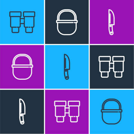 Set line Binoculars, Knife and Camping pot icon. Vector