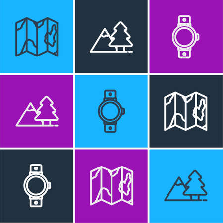 Set line Location of the forest on map, Smartwatch and Mountains with tree icon. Vector