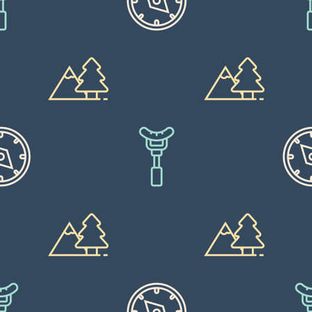 Set line Compass, Mountains with tree and Sausage on the fork on seamless pattern. Vector
