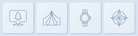 Set line Location of the forest, Smartwatch, Tourist tent and Wind rose. White square button. Vector Vettoriali
