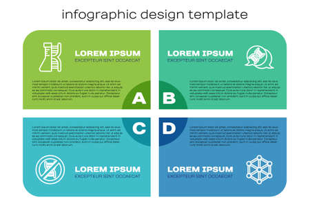 Set line Stop GMO, DNA research, search, and symbol. Business infographic template. Vector Illustration