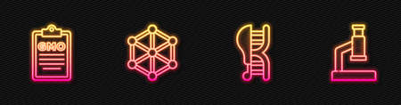 Set line Genetically modified chicken, GMO, and Microscope. Glowing neon icon. Vector