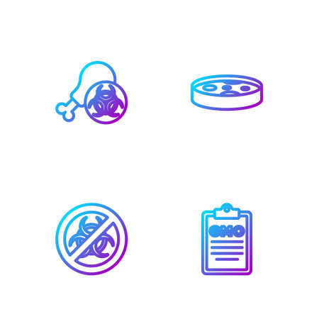 Set line GMO, Stop, Gmo research chicken and Petri dish with bacteria. Gradient color icons. Vector
