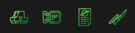 Set line Firearms license certificate, Collimator sight, Hunting shop weapon and Bayonet rifle. Gradient color icons. Vector