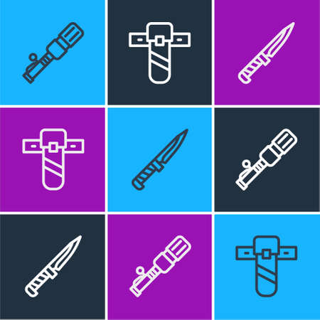 Set line Anti-tank hand grenade, Military knife and Knife holster icon. Vector.