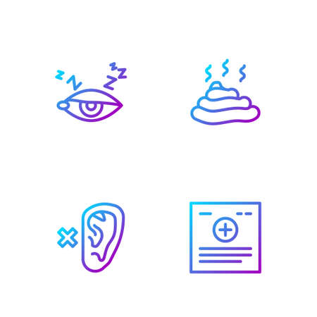 Set line Clinical record, Deaf, Insomnia and Shit. Gradient color icons. Vector