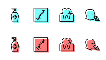 Set line Tooth with caries, Liquid antibacterial soap, Scar suture and Vomiting man icon. Vector Illustration
