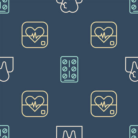 Set line Tooth with caries, Heart rate and Pills in blister pack on seamless pattern. Vector 向量圖像
