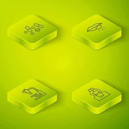 Set Isometric line Herpes lip, Microscope, Nurse and Medicine pill or tablet icon. Vector 矢量图像