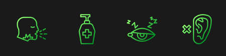 Set line Insomnia, Man coughing, Liquid antibacterial soap and Deaf. Gradient color icons. Vector 向量圖像