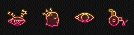 Set line Blindness, Insomnia, Man having headache and Wheelchair. Glowing neon icon. Vector