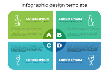 Set line Glass of champagne, Champagne bottle and glass, and Wine with. Business infographic template. Vector 矢量图像