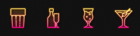 Set line Glass of beer, with water, Wine bottle glass and Martini. Glowing neon icon. Vector