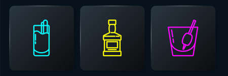 Set line Cocktail Bloody Mary, and Whiskey bottle. Black square button. Vector