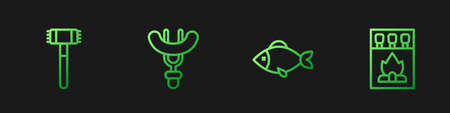 Set line Fish, Kitchen hammer, Sausage on the fork and Matchbox and matches. Gradient color icons. Vector 向量圖像