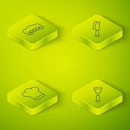 Set Isometric line Meat chopper, Chef hat, Spatula and Grilled pork bbq ribs icon. Vector