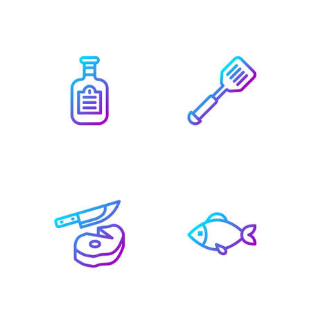 Set line Fish, Steak meat and knife, Sauce bottle and Spatula. Gradient color icons. Vector 일러스트