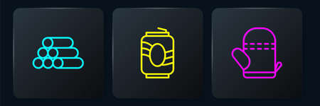 Set line Wooden logs, Oven glove and Soda can. Black square button. Vector