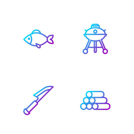 Set line Wooden logs, Knife, Fish and Barbecue grill. Gradient color icons. Vector