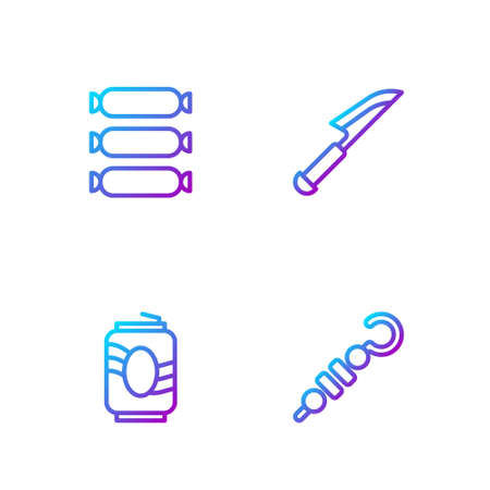 Set line Grilled shish kebab, Soda can, Sausage and Knife. Gradient color icons. Vector 向量圖像
