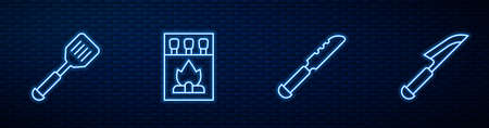 Set line Bread knife, Spatula, Matchbox and matches and Knife. Glowing neon icon on brick wall. Vector