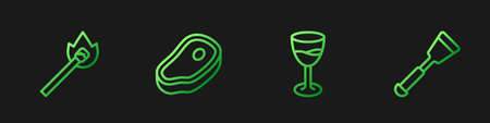 Set line Wine glass, Burning match with fire, Steak meat and Spatula. Gradient color icons. Vector
