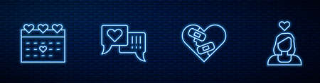 Set line Healed broken heart, Calendar with, Heart in speech bubble and Couple love. Glowing neon icon on brick wall. Vector