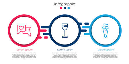 Set line Heart in speech bubble, Wine glass and Ice cream waffle cone. Business infographic template. Vector 向量圖像