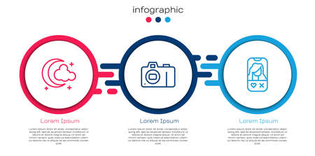 Set line Moon and stars, Photo camera and Dating app online. Business infographic template. Vector