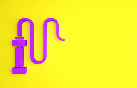 Purple Braided leather whip icon isolated on yellow background. Minimalism concept. 3d illustration 3D render Archivio Fotografico