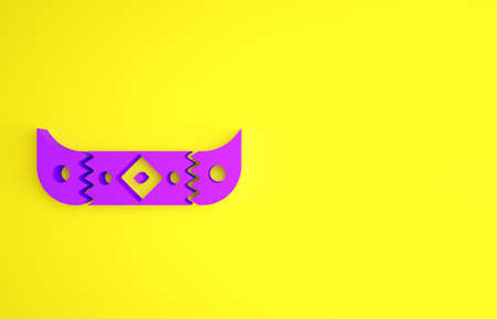 Purple Kayak and paddle icon isolated on yellow background. Kayak and canoe for fishing and tourism. Outdoor activities. Minimalism concept. 3d illustration 3D render Banque d'images