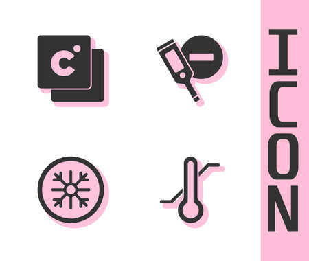 Set Meteorology thermometer, Celsius, Snowflake and Digital icon. Vector Ilustração Vetorial