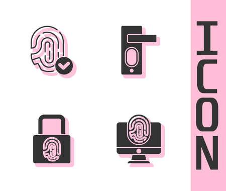 Set Monitor with fingerprint, Fingerprint, lock and door icon. Vector Illusztráció
