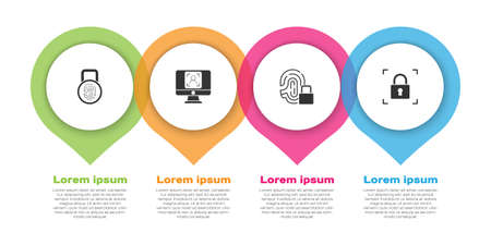 Set Fingerprint with lock, Face recognition, and . Business infographic template. Vector