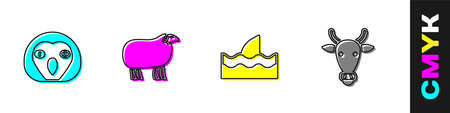 Set Owl bird, Sheep, Shark fin in ocean wave and Cow head icon. Vector