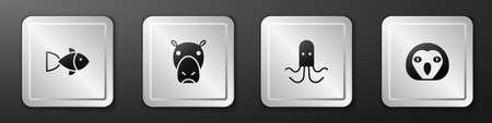 Set Fish, Hippo or Hippopotamus, Octopus and Owl bird icon. Silver square button. Vector