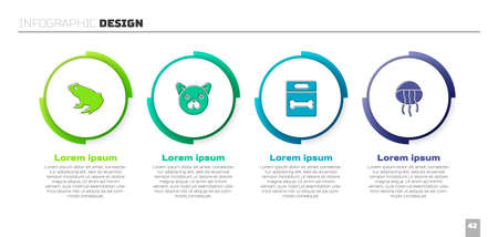 Set Frog, Cat, Dog bone and Jellyfish. Business infographic template. Vector