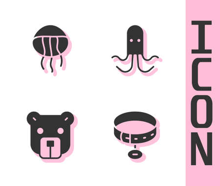 Set Collar with name tag, Jellyfish, Bear head and Octopus icon. Vector