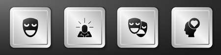 Set Comedy theatrical mask, Depression, and tragedy masks and Broken heart or divorce icon. Silver square button. Vector