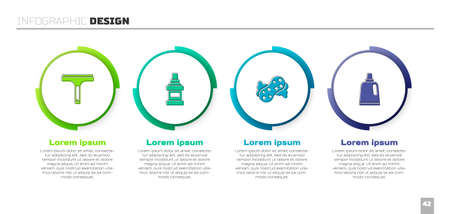 Set Rubber cleaner, Mouthwash bottle, Sponge and Bottle for cleaning agent. Business infographic template. Vector