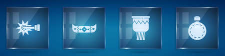 Set Spur, Kayak or canoe and paddle, Drum and Canteen water bottle. Square glass panels. Vector Illustration