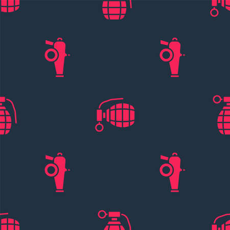 Set Cannon and Hand grenade on seamless pattern. Vector 向量圖像