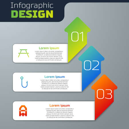 Set Picnic table with benches, Fishing hook and Rafting boat. Business infographic template. Vector Illustration