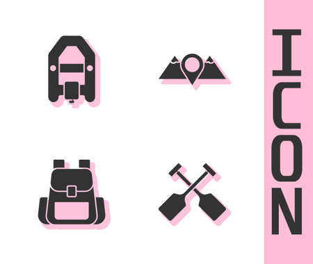 Set Paddle, Rafting boat, Hiking backpack and Location mountains icon. Vector