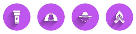 Set Flashlight, Tourist tent, Camping hat and Campfire icon with long shadow. Vector