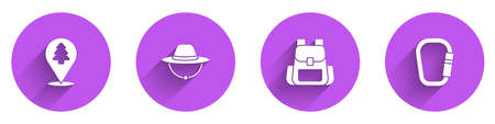 Set Location of the forest, Camping hat, Hiking backpack and Carabiner icon with long shadow. Vector