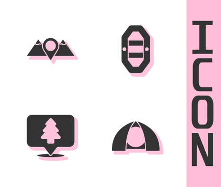 Set Tourist tent, Location mountains, of the forest and Rafting boat icon. Vector Illustration