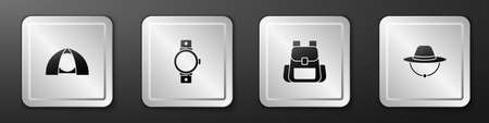 Set Tourist tent, Smartwatch, Hiking backpack and Camping hat icon. Silver square button. Vector